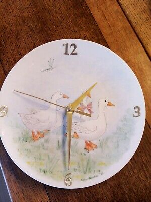 Vintage bone china unique hand painted wall clock