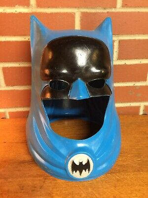 ~VINTAGE BATMAN PLASTIC COWL COSTUME MASK HELMET - IDEAL TOY 1966 -SWEET