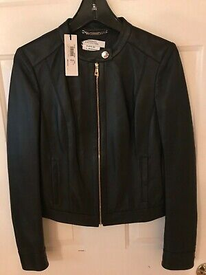 Versace Collection Womens Leather Jacket Black Size 40 IT US 4