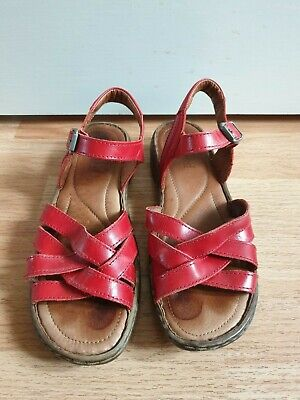 women's red leather sandals Josef Seibel size 6