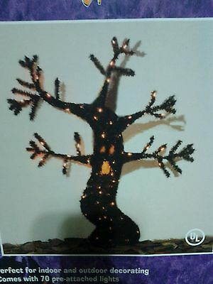 Halloween 48 Inch Tinsel Spooky Tree 70 Pre-Attached Lights New In The Box (Halloween Inflatable Spooky Tree)