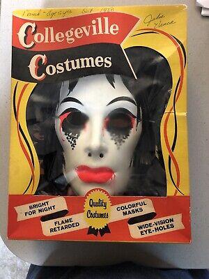 Vintage Collegeville VAMPIRE Monster Halloween Costume & Mask Box glow In Dark