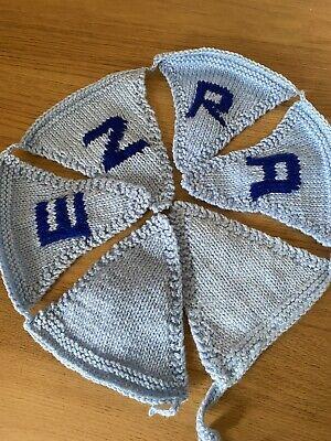 "Handmade Personalised Knitted Bunting ""EZRA"" Gift Baby Toddler"