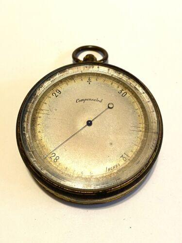 Antique Pocket Compensated Barometer Brass Casing Wonderful Old Piece