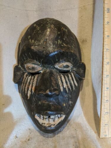 Congo Mask with White Pigment — Lifelike Features — Authentic African Wood Art