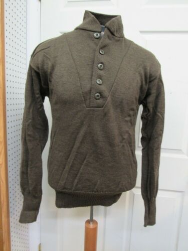 US Military 100% Wool Sweater Brown 5 Button Size Large NOS 1991 Date WW2 Type