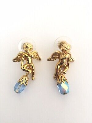 KIRKS FOLLY Cherub Angel AB Dangle Earrings - Rare Retired