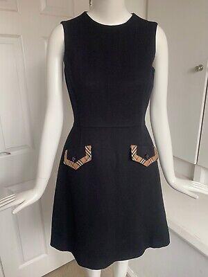 Vtg 1990s Burberry Made Italy Black Wool Nova Check Pocket Day Dress 10 36
