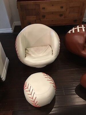 Swivel Kids Baseball Chair And Ottoman