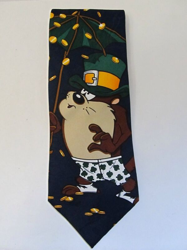 Tazmanian Devil Tie Necktie Irish Leprechaun St Pattys Looney Tunes Excellent
