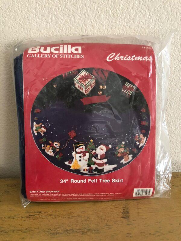 Bucilla Santa And Snowman Felt Sequin Christmas Tree Skirt 33193 34 Inches