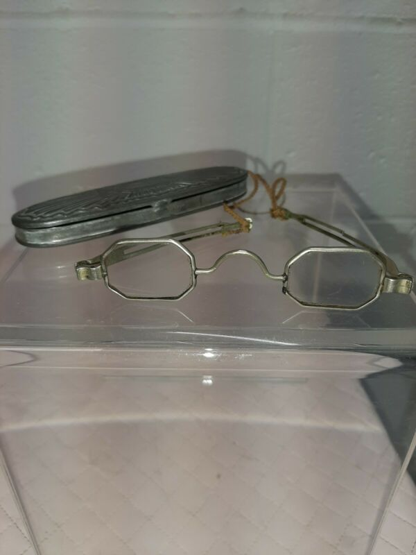 Antique Late 1800s Coin Silver Frame Spectacles w/ Silverplated C. Parker Case