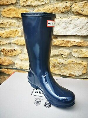 Hunter Original Kids Navy Gloss Wellington Boots - Size 2 - BNIB