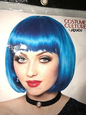 US Women Short Straight CosplayBlue Wig Bob Style Franco Costume Masquerade NEW