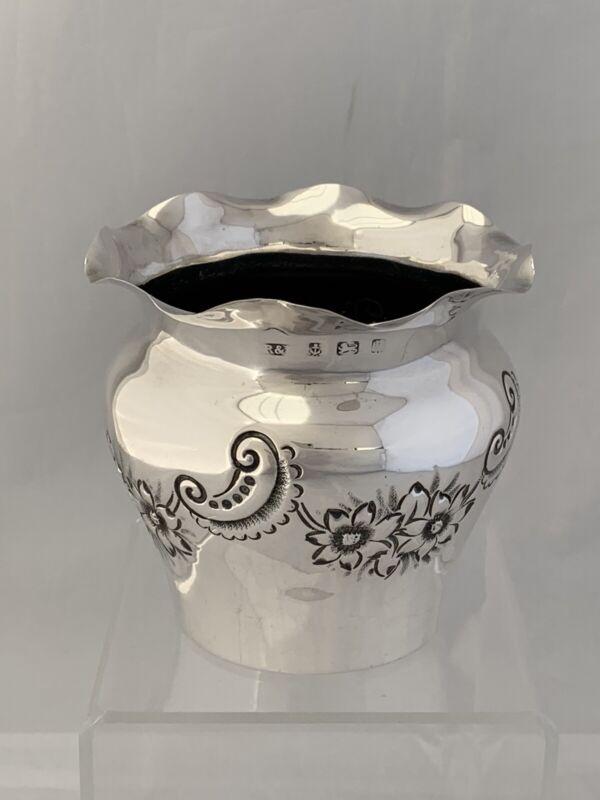 EDWARDIAN Antique Silver VASE OR FERN POT 1901 Birmingham Sterling Silver