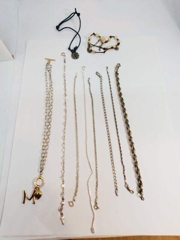 Vintage Sterling Silver 925 Bracelets Lot of 10  (C33)