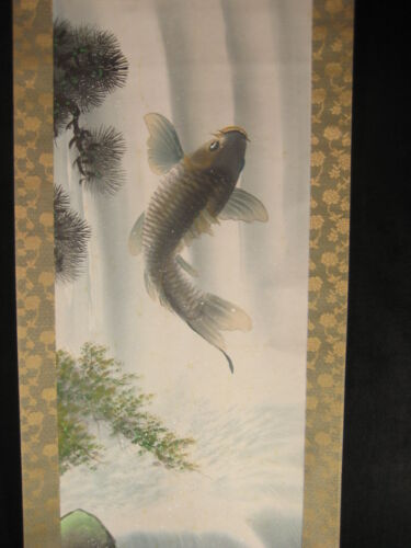 ANTIQUE JAPANESE SIGNED SCROLL HAND PAINTED CARP (KOI) SWIMMING UP WATERFALL