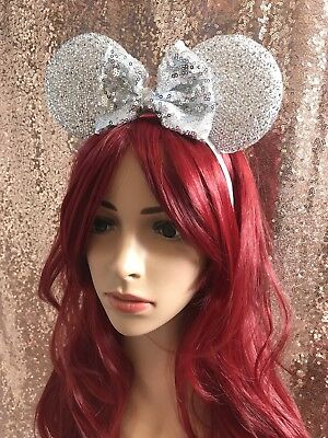 Disney Theme Minnie Mouse Ears Silver Headband Will Fit Child & Adult Hen Party