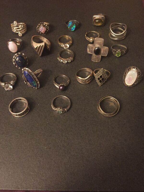 Vintage Sterling Silver LOT OF 22 Rings