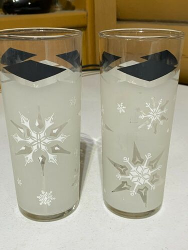 Vintage Libbey Black Diamond Frosted Snowflake Tom Collins Glasses Set of 2