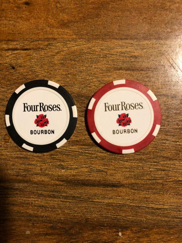 Lot (2) Four Roses Bourbon Whiskey Poker Chips Kentucky KY