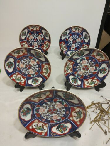 Imari Hand painted Plates JAPAN with wall hangers lot of 5