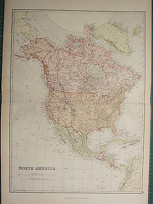 1882 LARGE ANTIQUE MAP ~ NORTH AMERICA MEXICO CUBA JAMAICA UNITED STATES CANADA