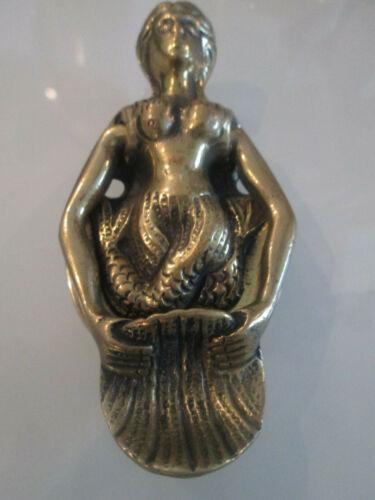 Old solid brass door knocker Mermaid double tale