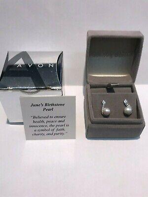 ***NEW*** Avon Sterling Silver Genuine Pearl & Cz Post Earring Set w/ Gift -