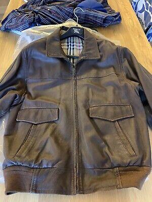 Burberrys Leather Mens Jacket 90s Vintage Brown Burberry