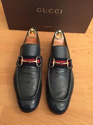 Gucci Mens Shoes Green Leather Horsebit Loafer Uk 8, Blue Red Web