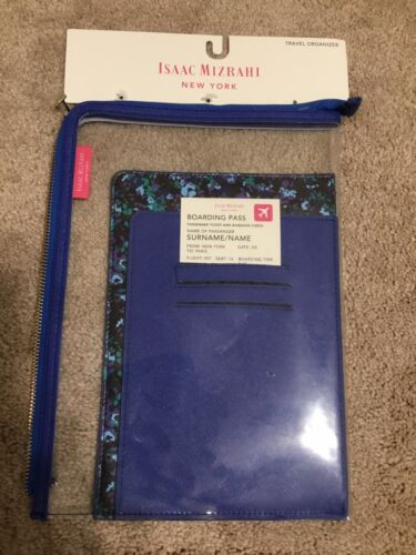 Isaac Mizrahi Travel Organizer Blue/White Floral New W/Tags Passport Wallet - $9.75