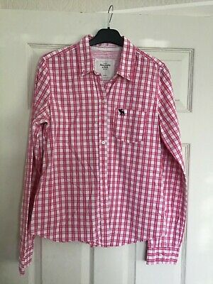LADIES ABERCROMBIE & FITCH PINK AND WHITE CHECK SHIRT SIZE L