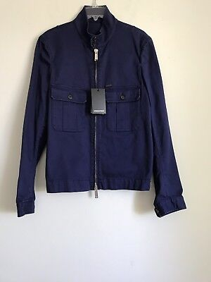 NWT AUTHENTIC DSQUARED2 BLUE COTTON FULL ZIP SPORT JACKET SZ 50 MADE IN ITALY