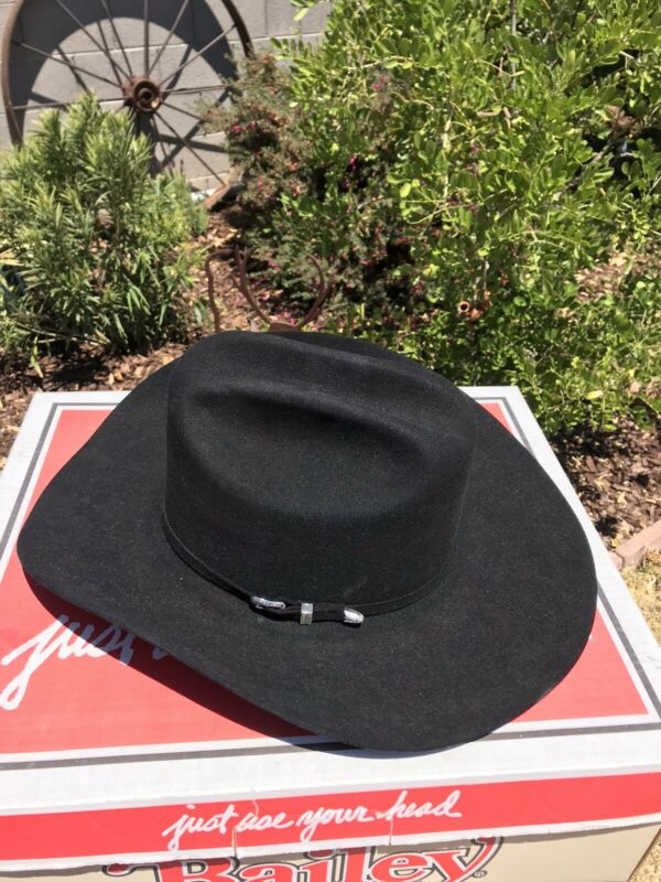 Bailey Black Cowboy Hat 5x Size 7 1/2