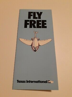 ⭐ Vintage Texas International Airlines Fly Free Advertising Pamphlet Brochure