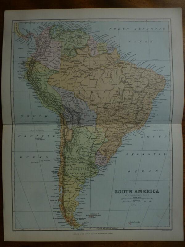 1874 ENGRAVING MAP SOUTH AMERICA By Bartholomew BRAZIL Boilvia PERU Columbia