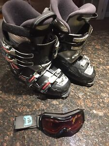 Nordica 295 mm ski boots with goggles.
