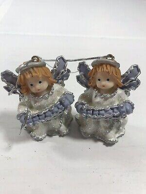 Set of 2 Angels Ceramic Blue White Christmas Tree Ornament Holiday Home Decor