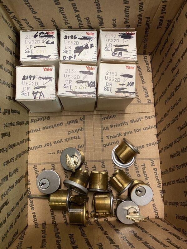 Yale Mortise Cylinder Lot 6 BOXED as Marked + Bonus Random parts