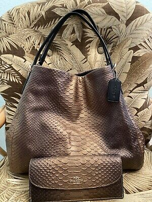 Coach Phoebe Shoulder Bag Metallic Python Leather With Matching Wallet Rare!