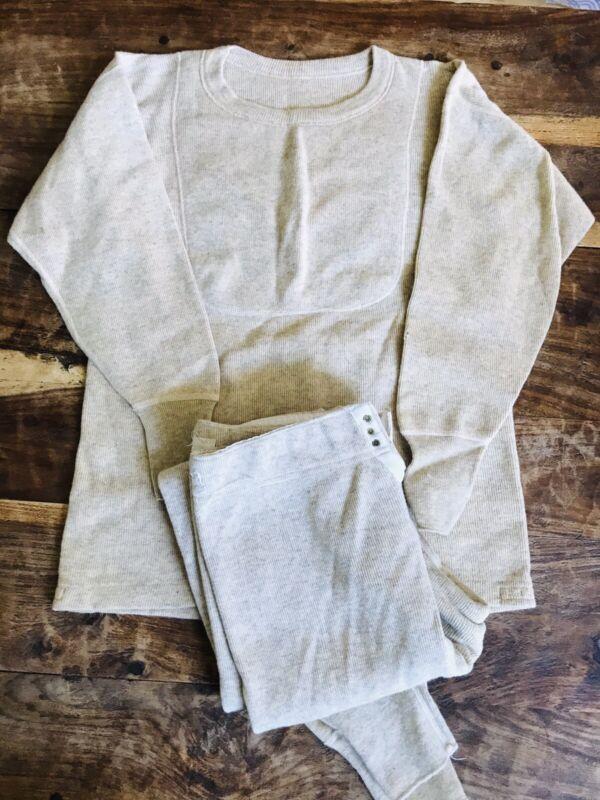Vintage 30s 40s Wool Henley Long Underwear Set Shirt Pants Size 34