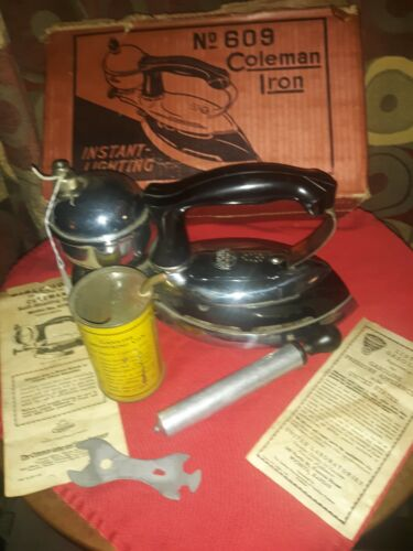 COLEMAN Instant-Lite Gas Clothes Iron No. 609 With Box And Directions ***NICE***