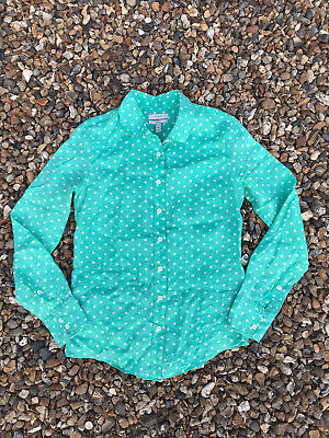 J.Crew, Womens Linen Fitted Shirt J.crew Size 00, Polka Dot, Green, Bargain