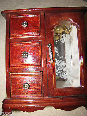 Glass Mahogany Armoire (Vintage Mahogany Jewelry Box Dresser Armoire Style Etched Glass)