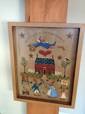 Original, New England Folk Art Rabbit Village Scene on Wood Painting