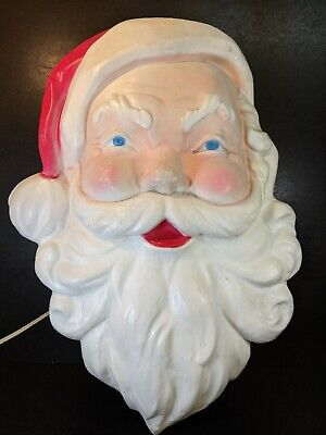 Vintage Santa Claus Face Wall Light Blow Mold Christmas Leominster MA Works