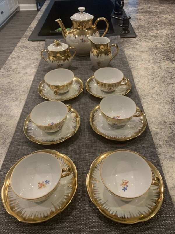 Richard Ginori Gold Plated Floral Tea Set 6footed Cups And Saucers, 17 Pcs