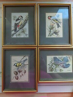 Vintage Set of 4 cash collector of Jacquard woven  pictures of Birds