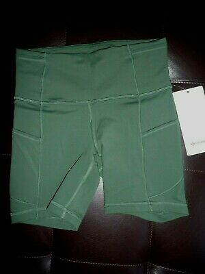 "Lululemon FAST FREE HR SHORT 6"" ALGAE GREEN SZ 6 NWT"